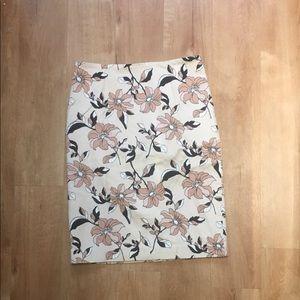 Ann Taylor Cream Floral Pencil Skirt